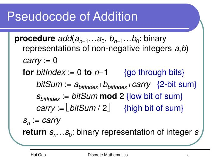 Pseudocode of Addition