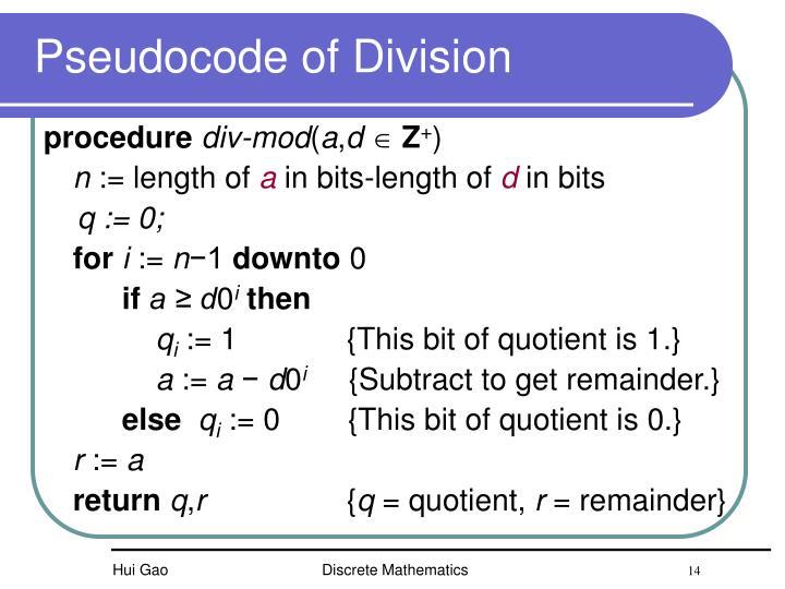 Pseudocode of
