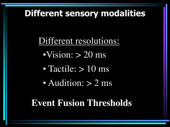 Different sensory modalities