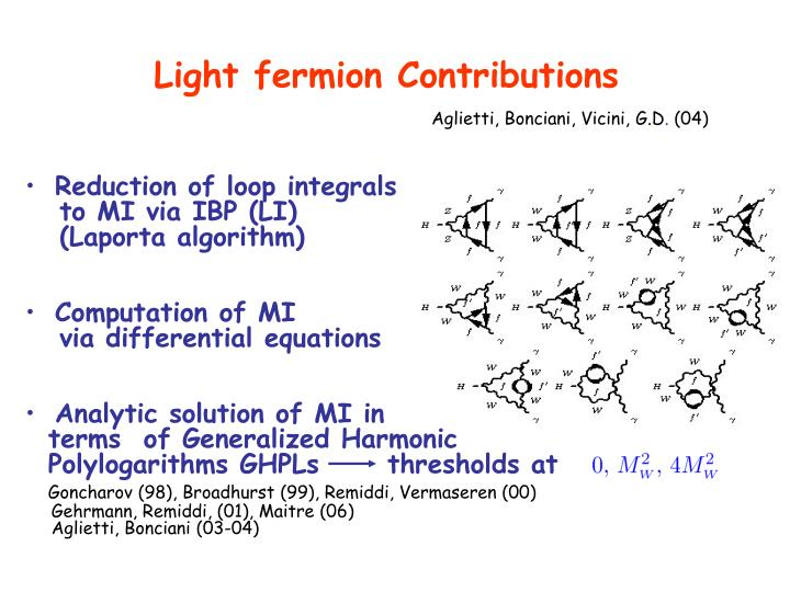 Light fermion Contributions