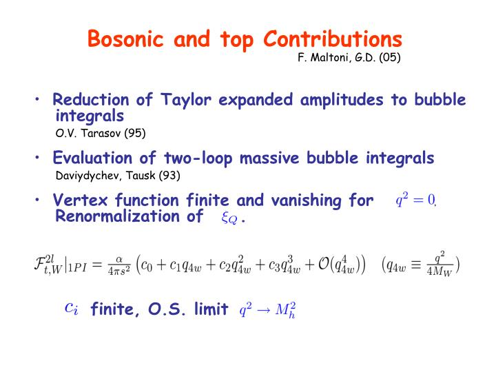 Bosonic and top Contributions