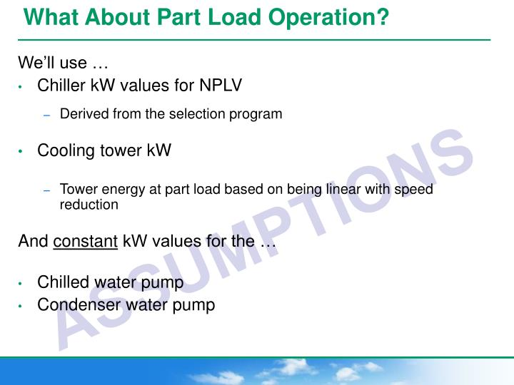 What About Part Load Operation?