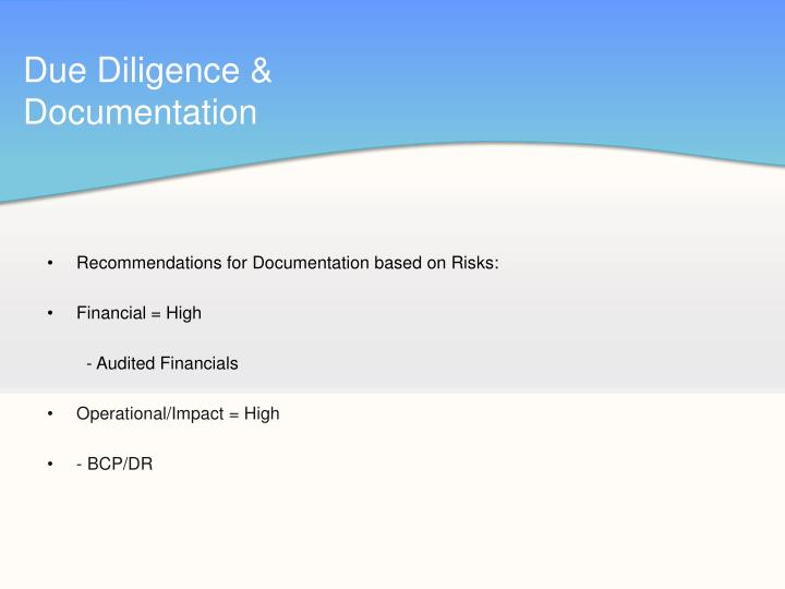 Due Diligence & Documentation