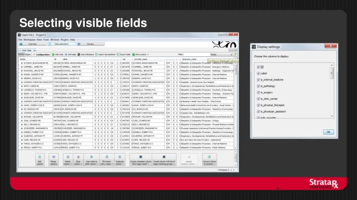 Selecting visible fields