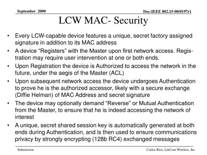LCW MAC- Security