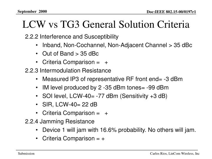 LCW vs TG3 General Solution Criteria