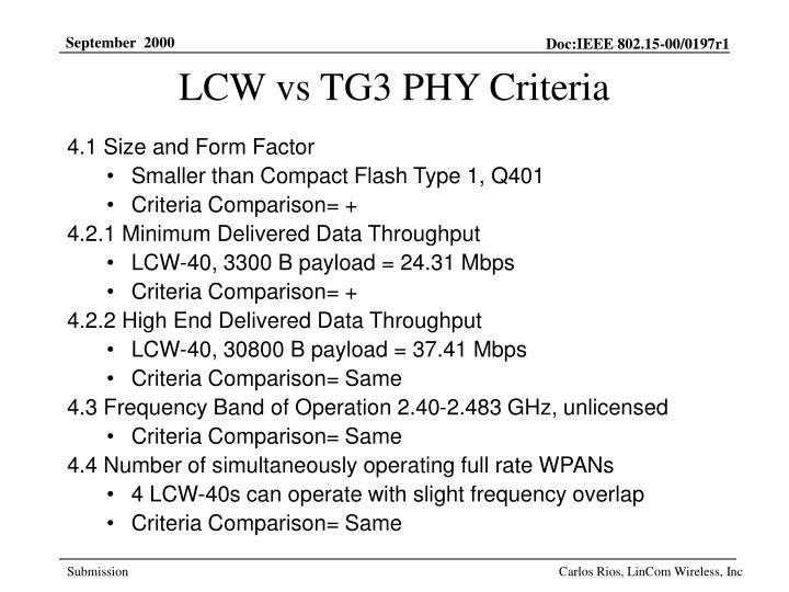 LCW vs TG3 PHY Criteria
