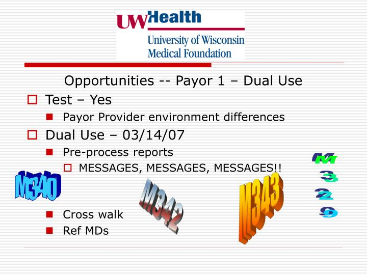 Opportunities -- Payor 1 – Dual Use