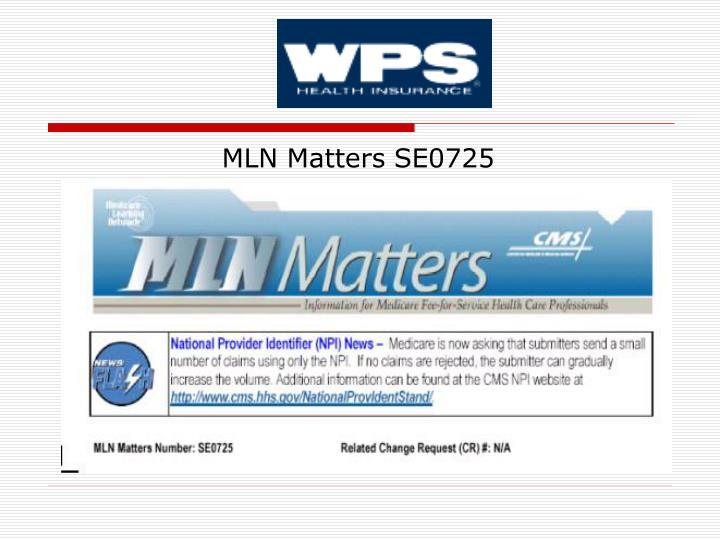 MLN Matters SE0725
