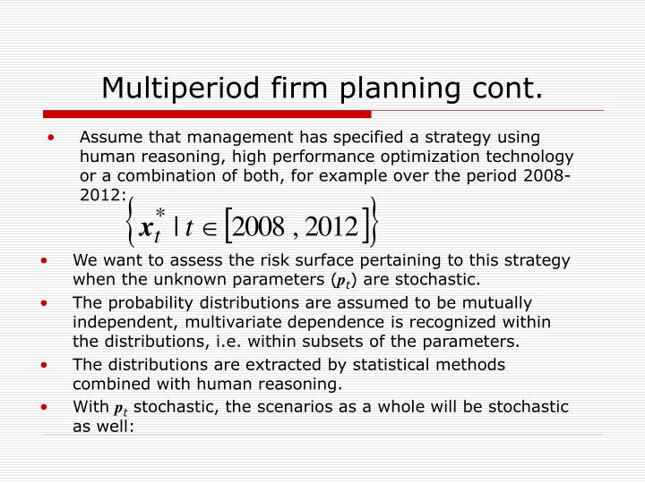 Multiperiod firm planning cont.