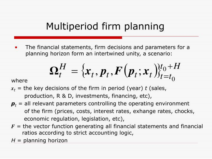 Multiperiod firm planning