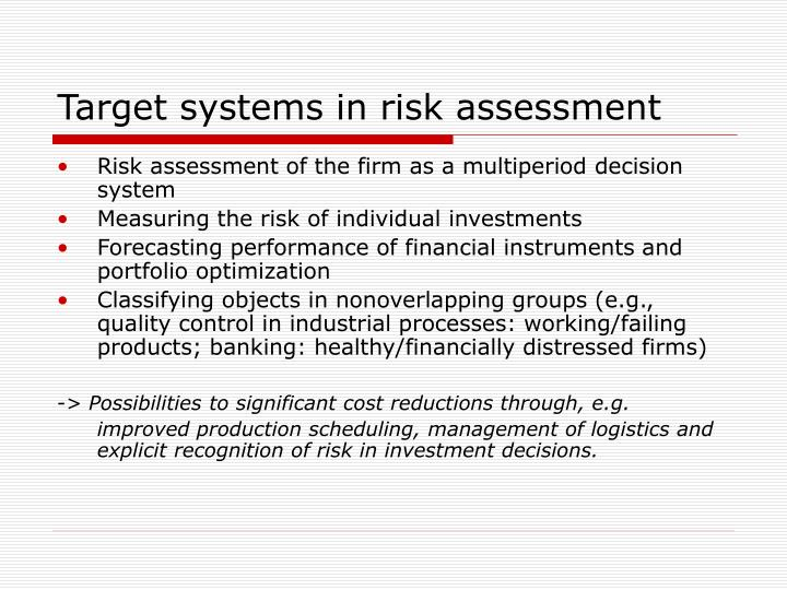 Target systems in risk assessment
