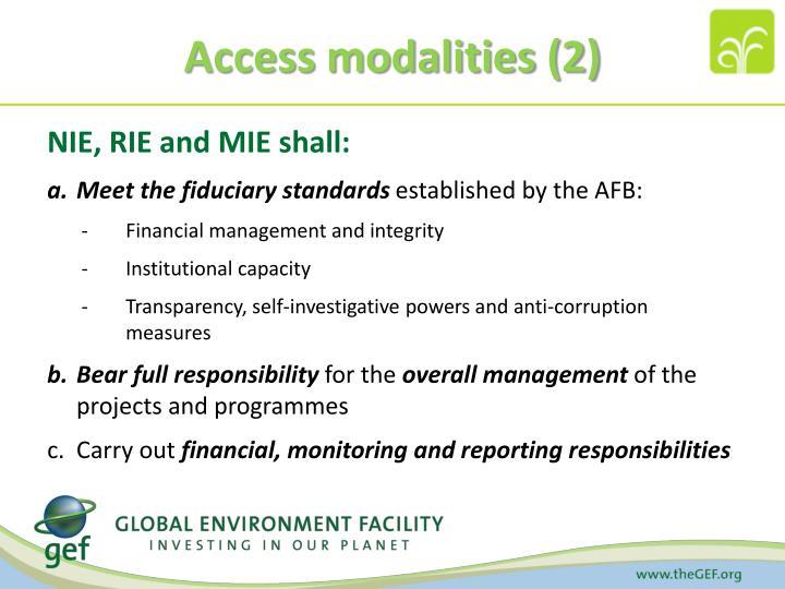Access modalities (2)