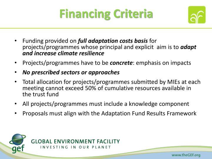 Financing Criteria