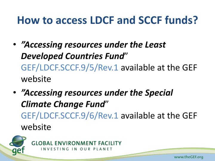 How to access LDCF and SCCF funds?