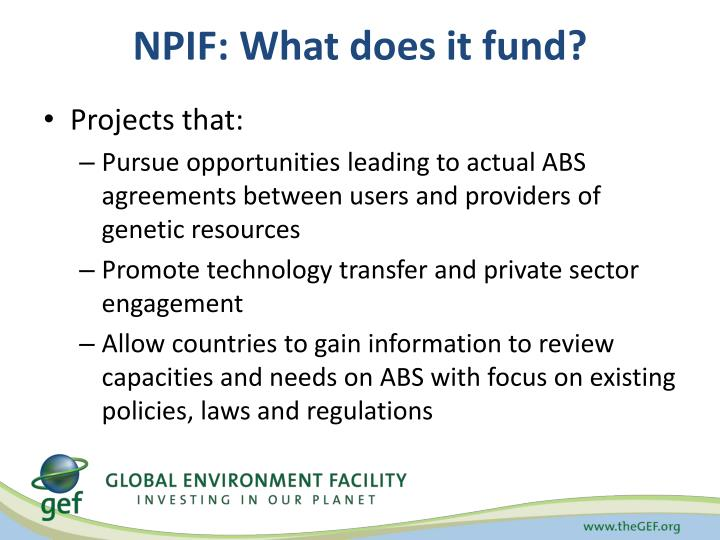 NPIF: What does it fund?