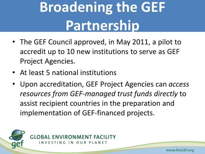 Broadening the GEF Partnership
