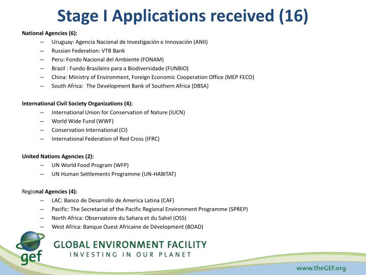 Stage I Applications received (16)