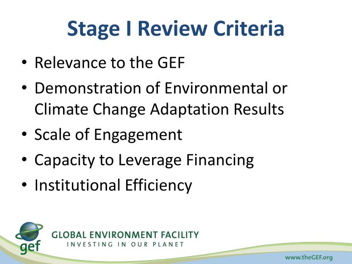 Stage I Review Criteria