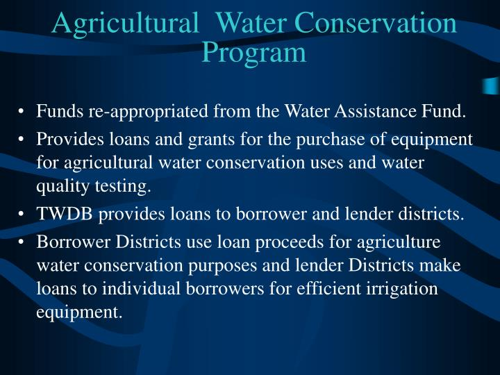 Agricultural  Water Conservation Program