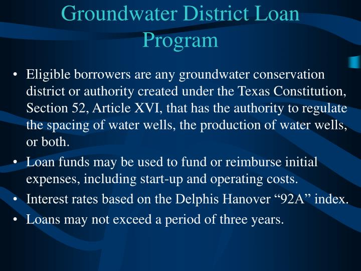 Groundwater District Loan Program