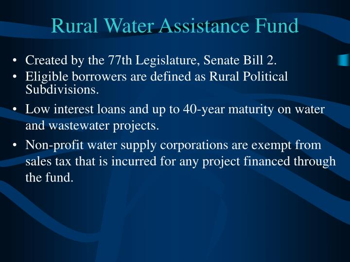 Rural Water Assistance Fund