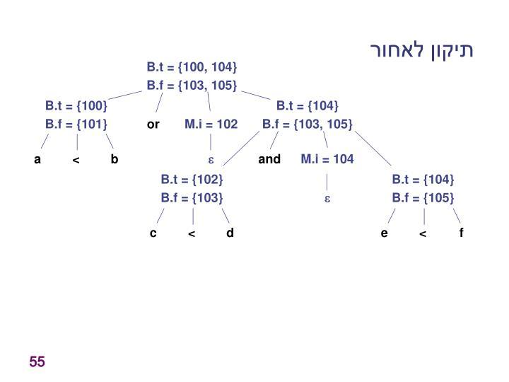B.t = {100, 104}