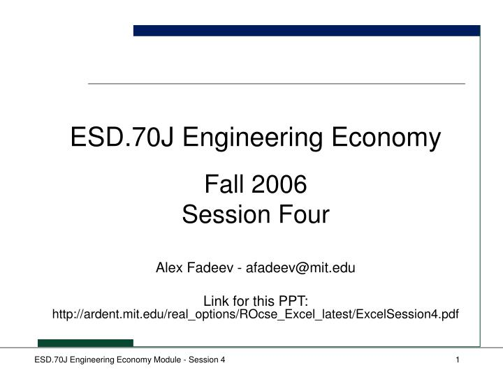 Esd 70j engineering economy