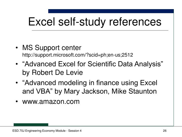 Excel self-study references