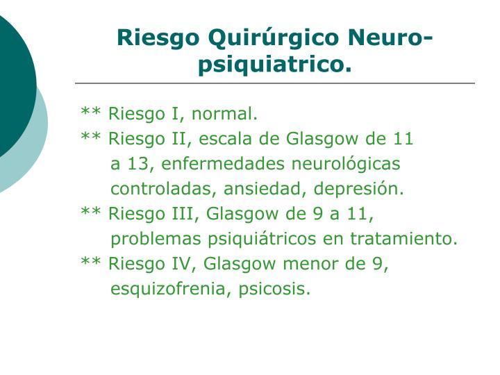 Riesgo Quirúrgico Neuro-psiquiatrico.