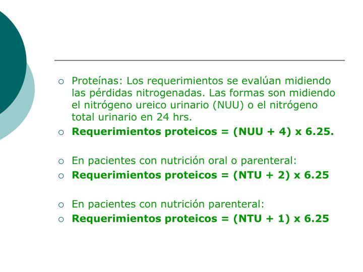 Proteínas: Los requerimientos se evalúan midiendo las pérdidas nitrogenadas. Las formas son midiendo el nitrógeno ureico urinario (NUU) o el nitrógeno total urinario en 24 hrs