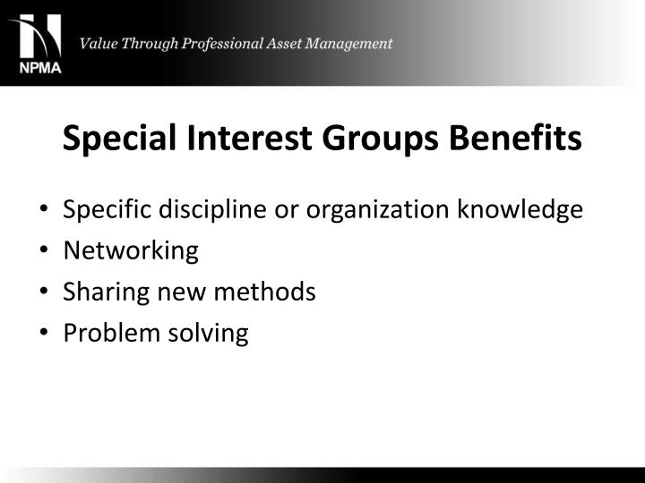 Special interest groups benefits