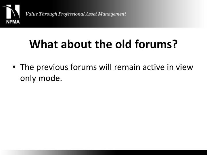 What about the old forums?