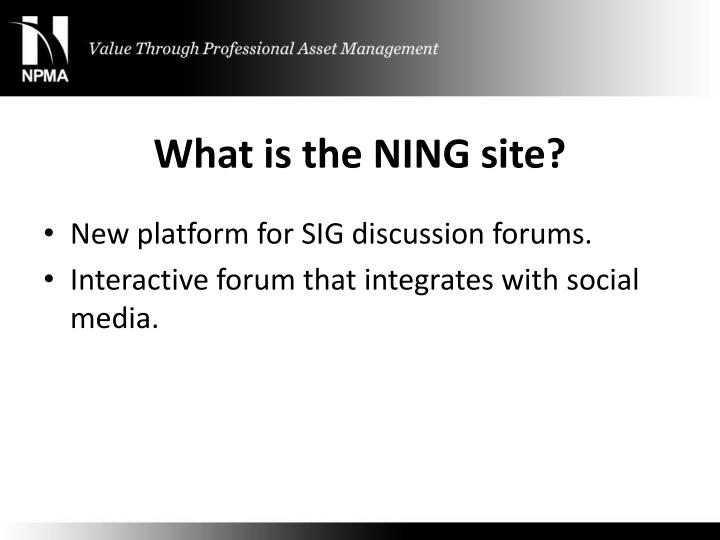 What is the NING site?