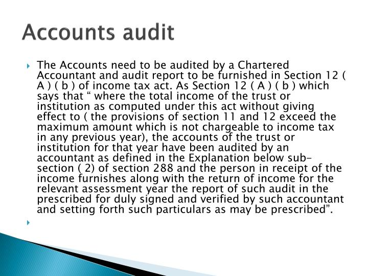 Accounts audit