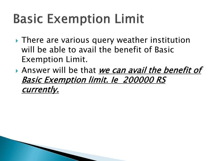 Basic Exemption Limit