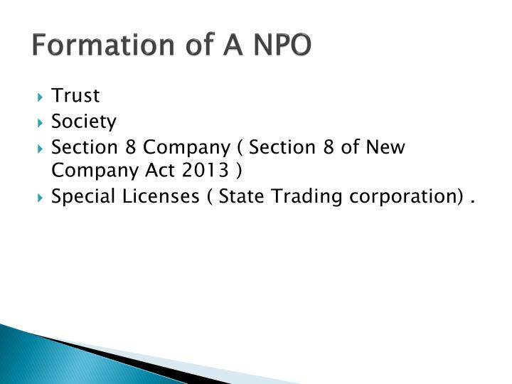 Formation of a npo
