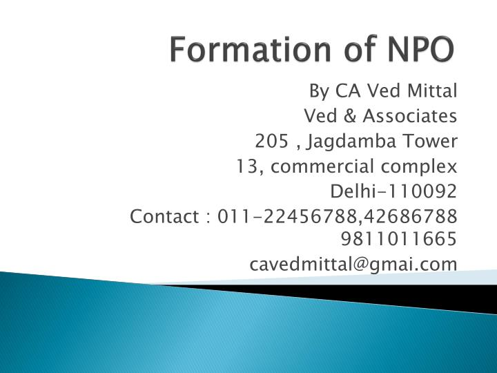 Formation of npo