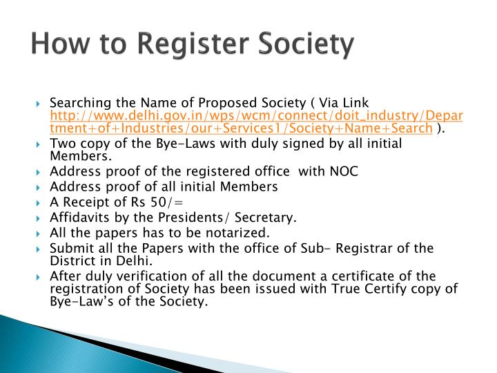 How to Register Society