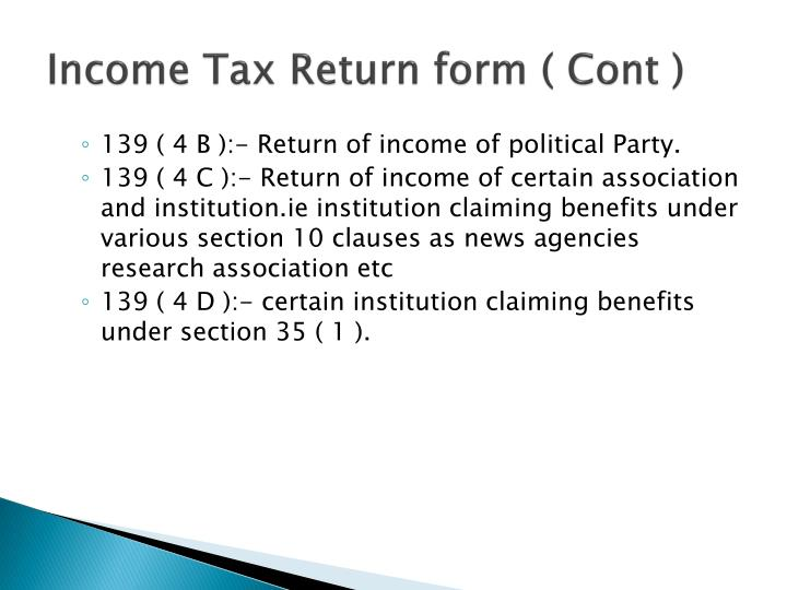 Income Tax Return form ( Cont )