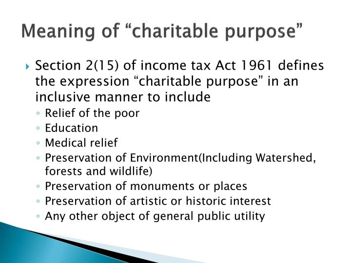Meaning of charitable purpose