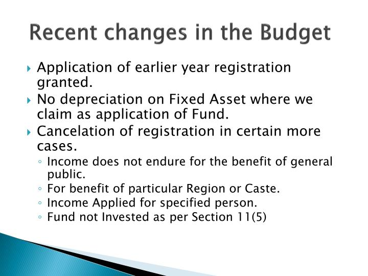 Recent changes in the Budget