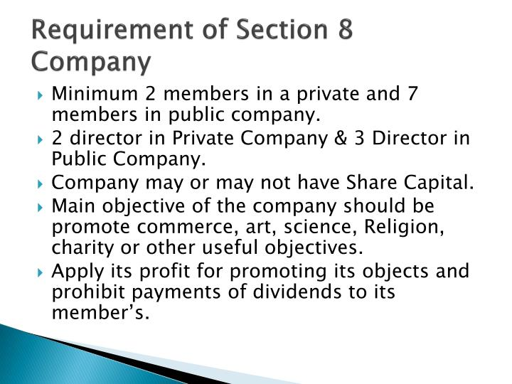Requirement of Section 8 Company