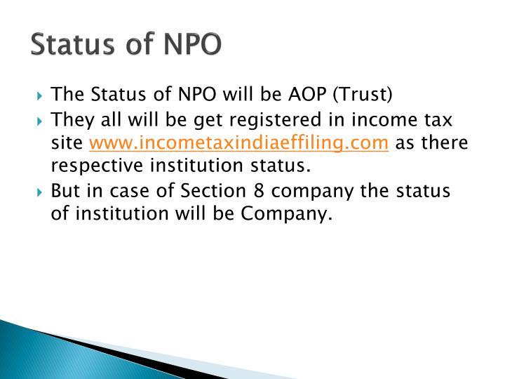 Status of NPO