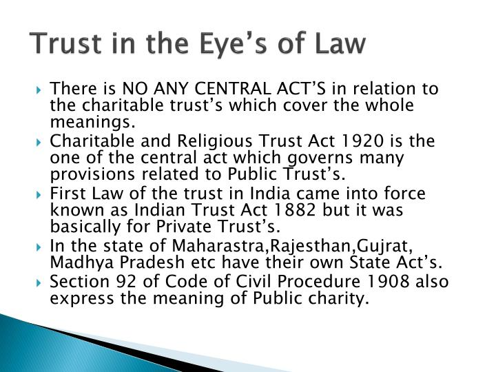 Trust in the Eye's of Law