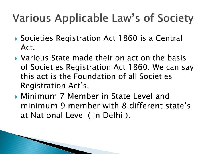 Various Applicable Law's of Society