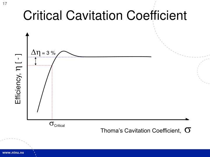 Critical Cavitation Coefficient