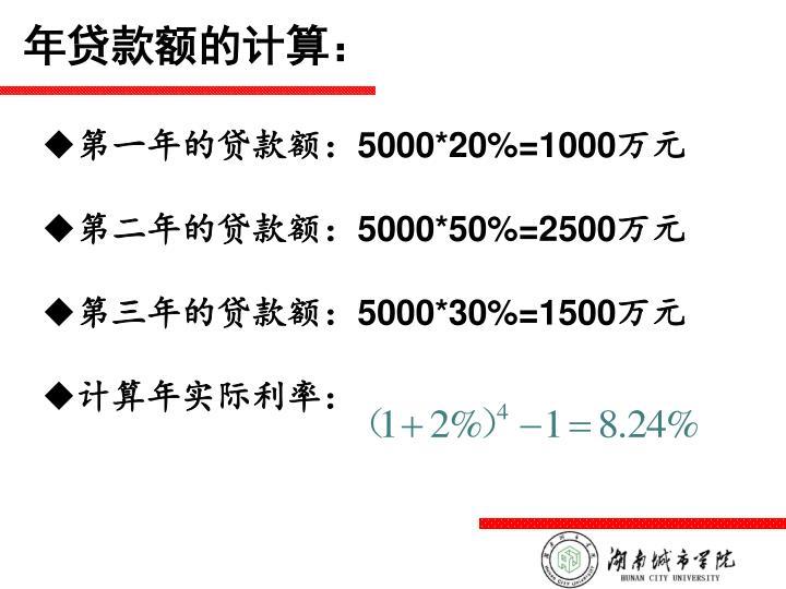 年贷款额的计算: