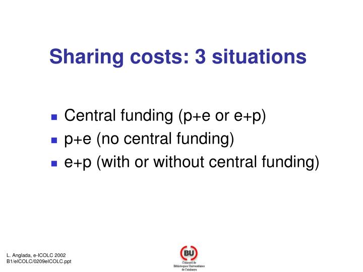 Sharing costs: 3 situations
