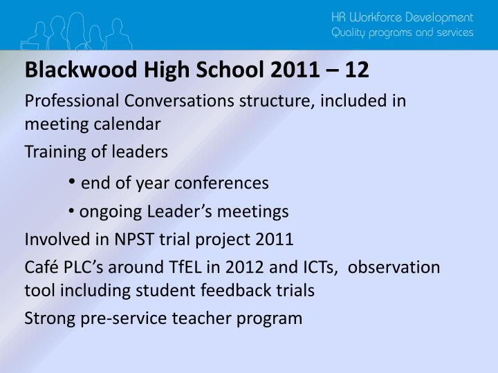 Blackwood High School 2011 – 12